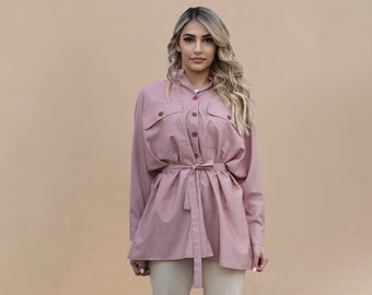 Striped Button up Shirt Women, Loose Striped Blouse, Long Sleeve Belted Casual Tunic Shirt, Minimalist Button Down Street Top, Modest Top