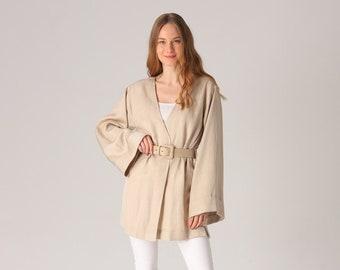 Beige Open Front Belted Cardigan, Summer Cardigan, Kimono Cardigan, Cotton Summer Kimono, Cotton Boho Cardigan, Boho Duster, Long Sleeve Top