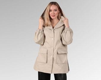 Flap Pockets Light Hooded Utility Jacket, Beige Everyday Jacket, Hooded Lightweight Jacket, Chore Jacket, Military Shirt Jacket, Beige Top