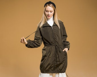 Green Hooded Raincoat, Lightweight Raincoat, Zipper Rain Jacket, Cute Raincoat, Drawstring Long Jacket Raincoat, Elastic Waist Hood Jacket