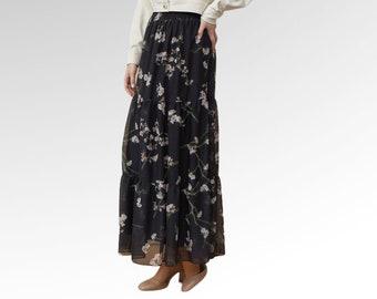 Long Floral Maxi Skirt, Long black boho skirt, Midi skirt, Long Skirt, High Waisted Fairy Skirt, Women's skirt, Bohemian Skirt, Tiered Skirt