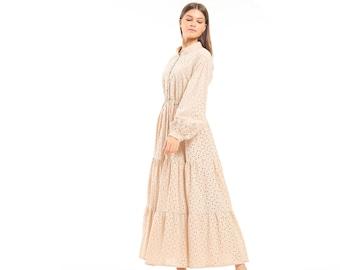 Long Sleeve Eyelet Cotton Maxi Dress, Ankle Length Dress, Summer Flowy Loose Fit Midi Dress, Embroidered Long Dress, Modest Boho Maxi Dress
