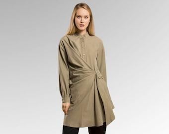 Green Casual Asymmetric Tunic, Long Sleeve Bohemian Blouse, Womens Fall Top, High Low Tunic Shirt, Button up Shirt, Designer Top, Modest top