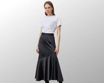 Long black boho skirt, Tiered maxi skirt, Midi skirt, Long Skirt, High Waisted Fairy Skirt, Flowy skirt, Bohemian skirt, Gothic skirt