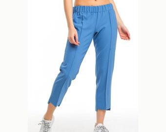 Elastic Waist Solid Capri Pants, Stretchable Capri Trousers, Pull on Crop Pants, Casual Joggers, Classic Stretch Waist Capri, Straight Cut