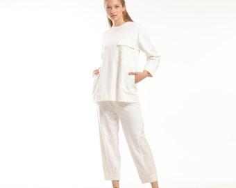White Two Piece Loungewear Set, Casual Sweatshirt and Pants Set, White Comfy Tracksuit Set, Matching 2 Piece Set, Jogger Suit, Modest Set