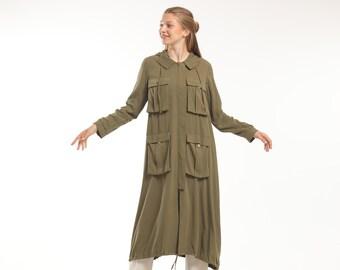 Green Hooded Streetwear Summer Jacket, Long Bomber Jacket Women, Trench Coat, Long Kimono, Japanese Streetwear, Duster Hooded Coat, Cardigan