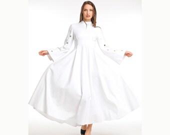White Long Sleeve Flowy Ankle Length Dress, Button Sleeve Long Party Dress, White Dressy Maxi Dress, Spring Formal Dress, Empire Waist Dress