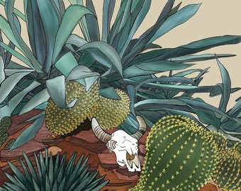 "Cactus and Skull 8x10"" Print"