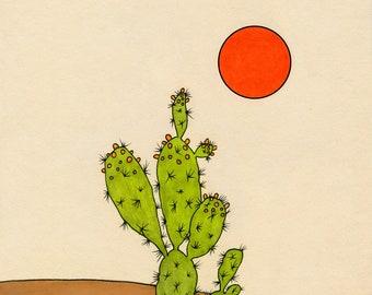 Cactus and Sun illustration digital print 8x10