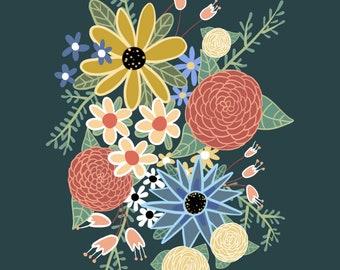 Dark green floral illustration digital print 8x10