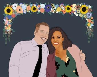 "Custom Couple Portrait 8x10"""