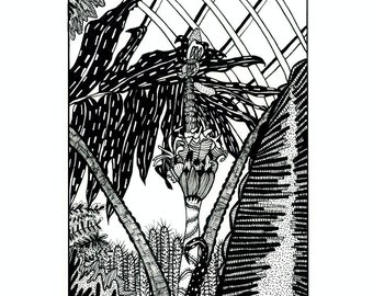 Black and white plant illustration 8x10