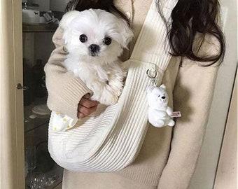 Dog Puppy Bag Handmade Pet Cat Kitten Carrier Outdoor Travel Handbag Canvas Single Shoulder  Bag Tote Shoulder Bag Breathable