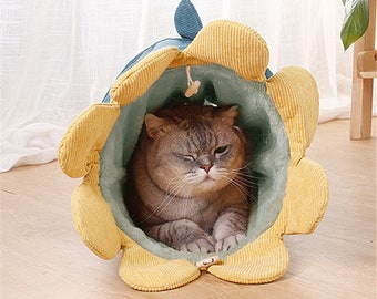 Interactive Cat Tunnel Cut Cat Toys Cat Play Toy Pet Tube Collapsible Kitten Rabbit Play Tube Ring Bell Kitten Ferrets Puppy Bed
