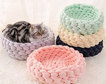 Woven Cat Bed Pet Nest Warm Soft Cat Basket Cat Lazy Lounger Wool Cotton Kennel Dog Sleeping House Cat Cave Pet Supply