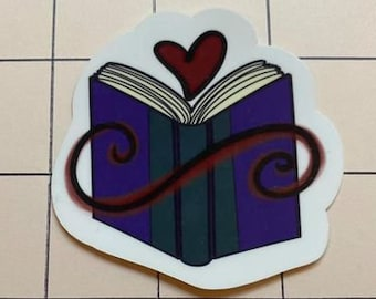 Purple Book Love Novel Sticker - Water Resistant Die Cut Sticker