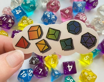 Rainbow Dice Cloud Sticker, Polyhedral Dice Sticker, Dungeons & Dragons, RPG Dice, D20, DnD Water Resistant Die Cut Stickers