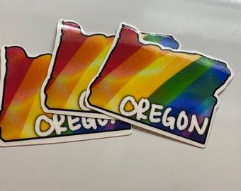 Oregon State Rainbow Pride Sticker - PNW - Water Resistant Die Cut Sticker