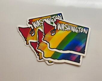 Washington State Rainbow Pride Sticker - PNW - Water Resistant Die Cut Sticker