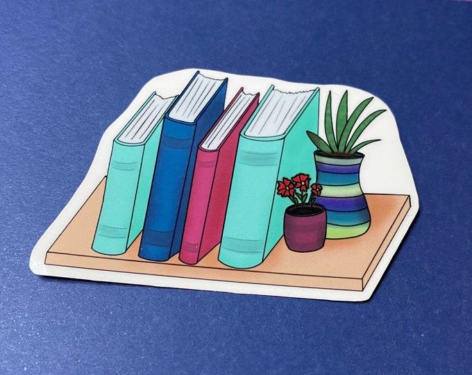 Bookshelf with Plants Sticker - Water Resistant Die Cut Sticker - Bookish