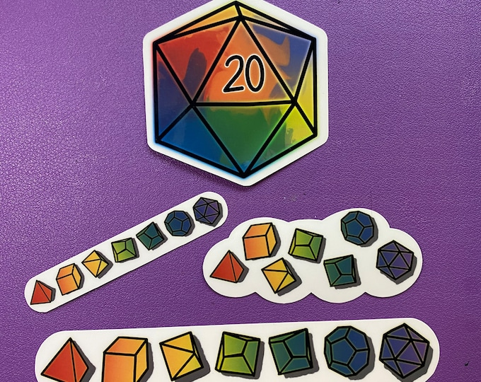 Polyhedral Dice Stickers - SET OF 4, Rainbow Dice Stickers, Dungeons & Dragons, RPG Dice, D20, DnD Water Resistant Die Cut Stickers