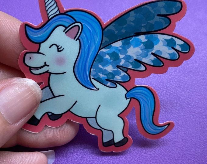 Blue Pegasus Sticker, Baby Pegasus Die Cut Sticker, Horse Decal, Water Resistant Die Cut Sticker