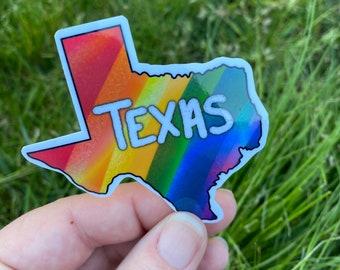 Texas State Rainbow Pride Sticker, Water Resistant Die Cut Sticker