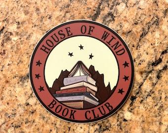 House of Wind Book Club Sticker, Water Resistant Die Cut Sticker, ACOSF Fanart, ACOTAR Sticker, Fantasy Book Sticker, Court of Silver Flames