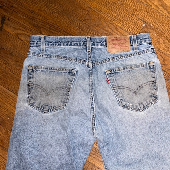 Vintage Levis 505 thrashed 90s great repairs dist… - image 7