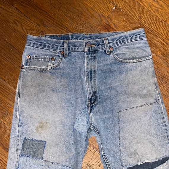 Vintage Levis 505 thrashed 90s great repairs dist… - image 5