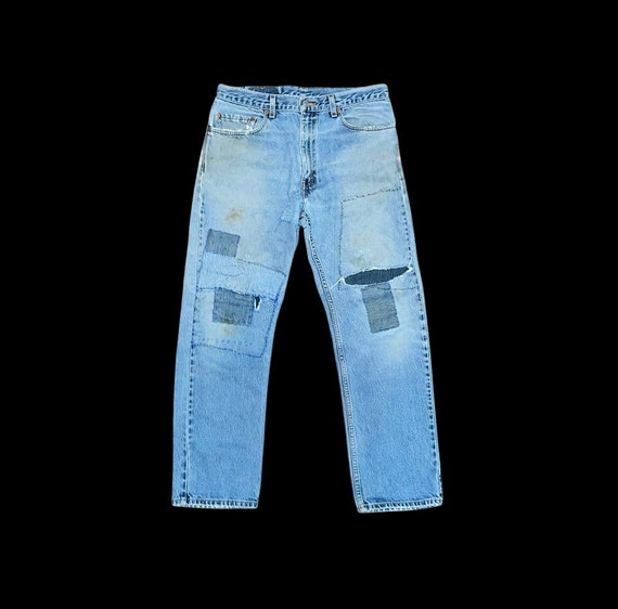 Vintage Levis 505 thrashed 90s great repairs dist… - image 1
