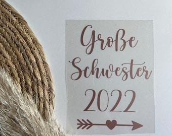 Bügelbild Große Schwester 2022 / Pregnancy announcement