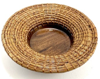 Handmade Longleaf Pine Needle Basket w/ Walnut Base