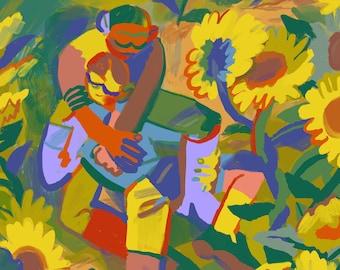 Sunflower Lovers Art Print