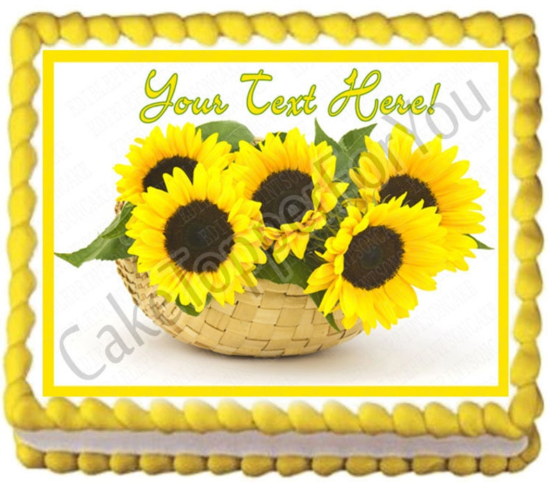 Edible Cake or Cupcake Topper Sunflower in a Basket