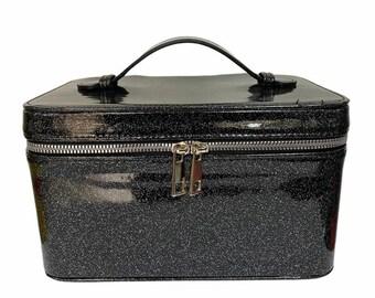 vintage Ballet Gymnasts black patent leather round bag luggage 1950 1960