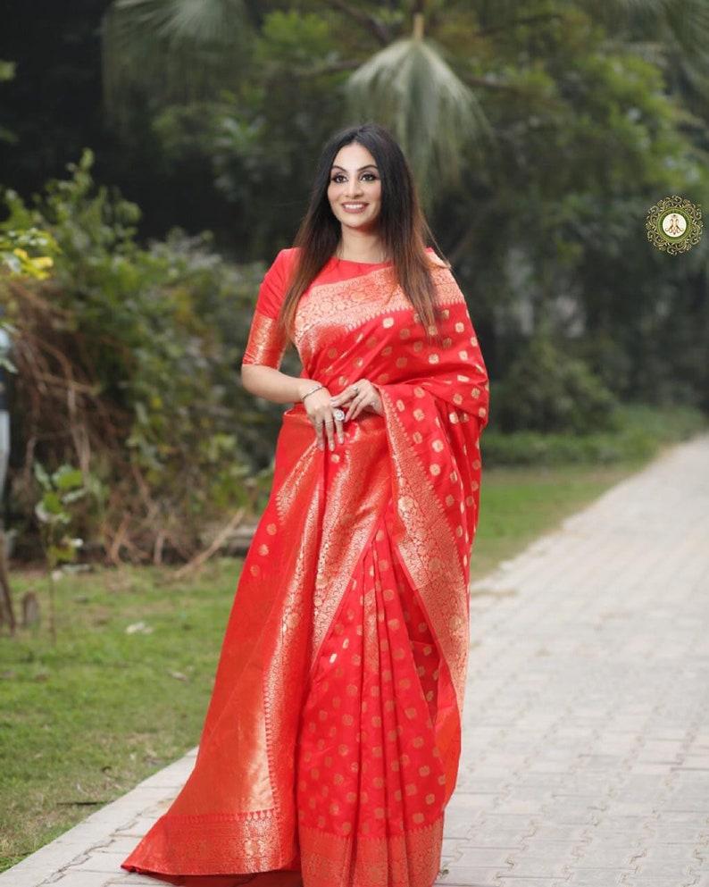 Hot Red Banarasi Soft Silk Saree