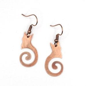Laser Cut Copper Earrings CAT SWIRL