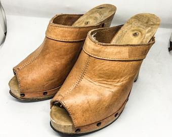 Women's Shoe Mule or Logs, Gr 38, Vintage 70s