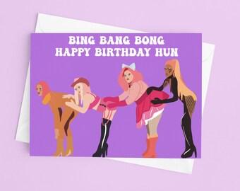 Funny Drag Race UK UK HUN United Kingdolls Birthday Card Ru Paul