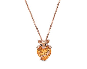 925 Sterling Silver Lioness Heart Pendant Necklace Gift For Women Jewelry Ladies Necklace
