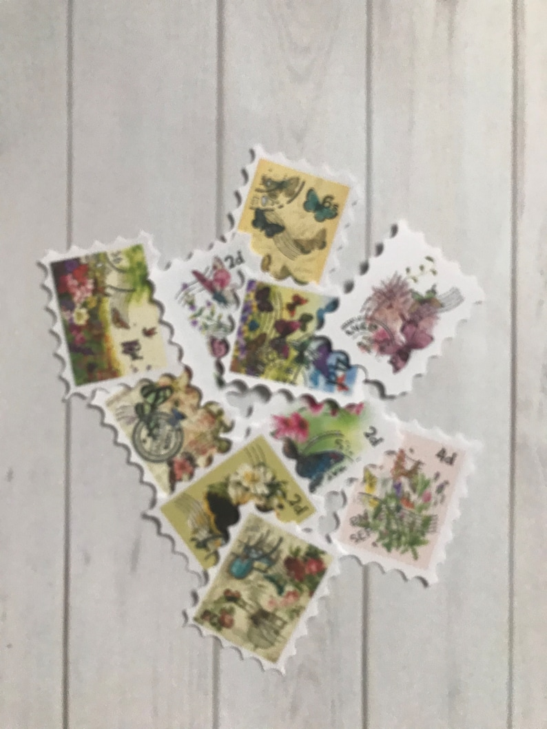 Set of 10 Butterfly stamps junk journal postage stamps faux stamp set crafting supplies ephemera scrapbook snailmail