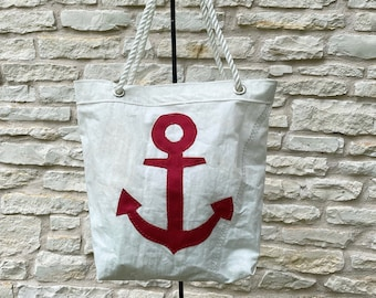Recycled sailcloth bag with red anchor insignia - recycled dacron sail