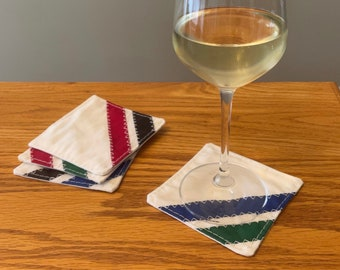 """Recycled sailcloth drink coasters - Set of 4 - 4""""x4"""" - unique and fun gift for home, boat, RV, camper"""