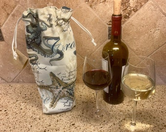 Nautical-themed fabric wine bottle or liquor bottle tote - gift bag - host/hostess gift - boat gift - with optional insulated sleeve