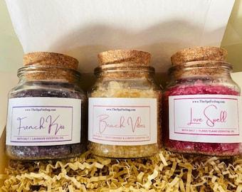 bath salt (Set of 3), luxury gift women, gift mother, gift mom, gift for her, gift girlfriend, gift box, lavender, ylang ylang