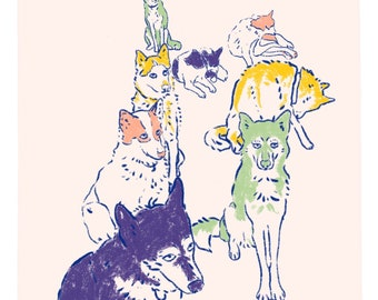 Dog Team Illustration art print on recycled paper