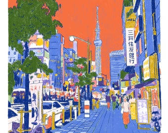 Sky Tree Tower Illustration art print on recycled paper
