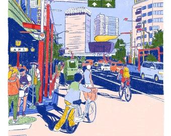Asakusa Road Illustration art print on recycled paper